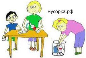 Рисунок ребенка - мусор в урну!