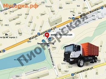 Карта у метро Пионерская в Москве