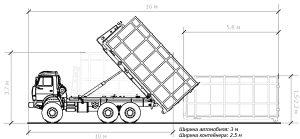 Схема постановки контейнера 20 м3